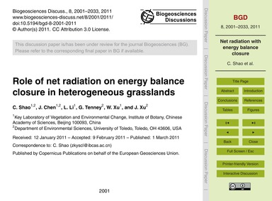 Role of Net Radiation on Energy Balance ... by Shao, C.