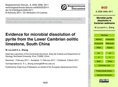 Evidence for Microbial Dissolution of Py... by Liu, W.