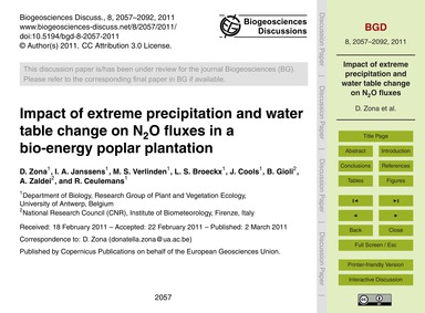 Impact of Extreme Precipitation and Wate... by Zona, D.