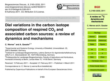 Diel Variations in the Carbon Isotope Co... by Werner, C.