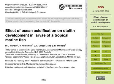 Effect of Ocean Acidification on Otolith... by Munday, P. L.
