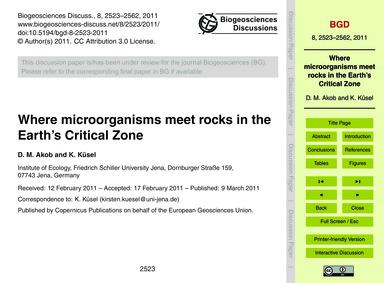 Where Microorganisms Meet Rocks in the E... by Akob, D. M.