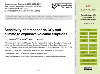 Sensitivity of Atmospheric Co2 and Clima... by Frölicher, T. L.