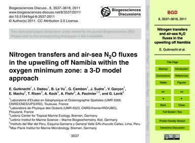Nitrogen Transfers and Air-sea N2O Fluxe... by Gutknecht, E.