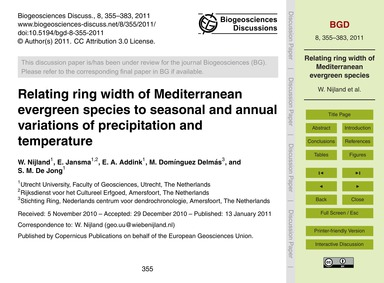 Relating Ring Width of Mediterranean Eve... by Nijland, W.