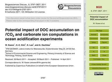 Potential Impact of Doc Accumulation on ... by Koeve, W.
