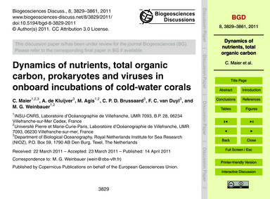 Dynamics of Nutrients, Total Organic Car... by Maier, C.