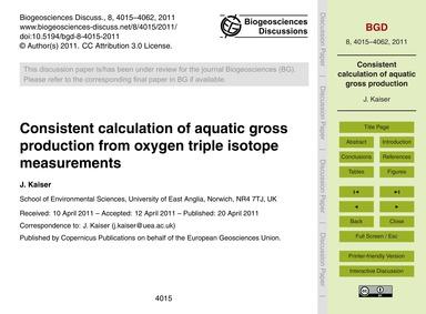 Consistent Calculation of Aquatic Gross ... by Kaiser, J.