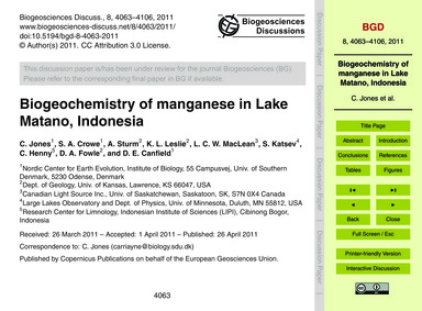 Biogeochemistry of Manganese in Lake Mat... by Jones, C.