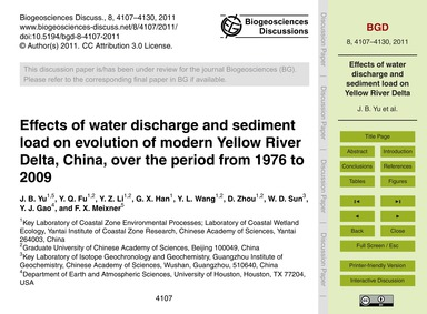Effects of Water Discharge and Sediment ... by Yu, J. B.