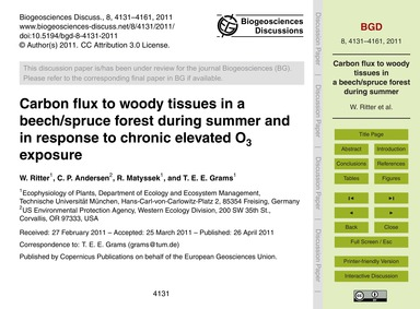Carbon Flux to Woody Tissues in a Beech/... by Ritter, W.