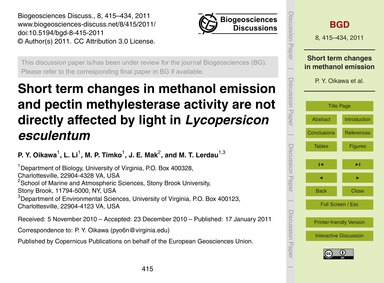 Short Term Changes in Methanol Emission ... by Oikawa, P. Y.