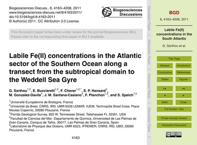 Labile Fe(II) Concentrations in the Atla... by Sarthou, G.