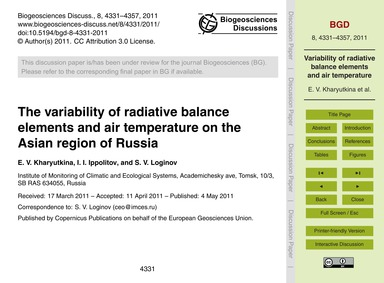 The Variability of Radiative Balance Ele... by Kharyutkina, E. V.