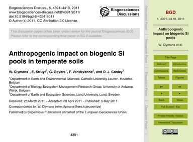 Anthropogenic Impact on Biogenic Si Pool... by Clymans, W.