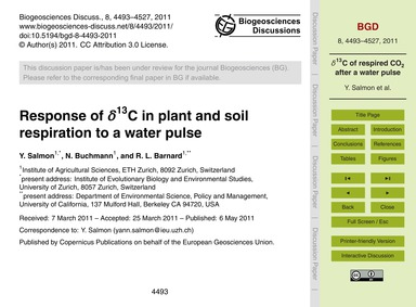 Response of Δ13C in Plant and Soil Respi... by Salmon, Y.