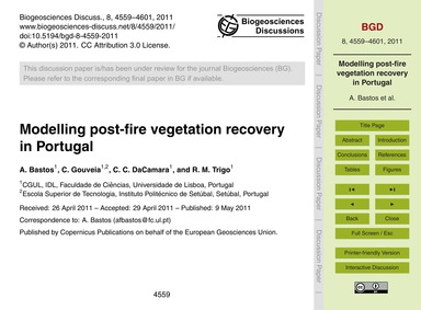 Modelling Post-fire Vegetation Recovery ... by Bastos, A.
