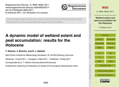 A Dynamic Model of Wetland Extent and Pe... by Kleinen, T.