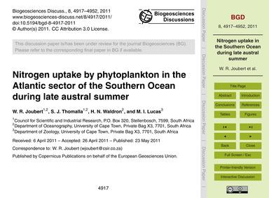 Nitrogen Uptake by Phytoplankton in the ... by Joubert, W. R.