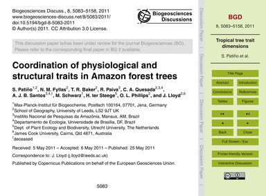Coordination of Physiological and Struct... by Patiño, S.