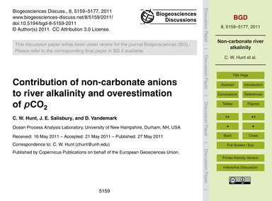 Contribution of Non-carbonate Anions to ... by Hunt, C. W.