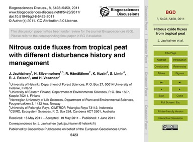 Nitrous Oxide Fluxes from Tropical Peat ... by Jauhiainen, J.