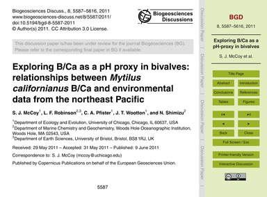 Exploring B/CA as a Ph Proxy in Bivalves... by McCoy, S. J.