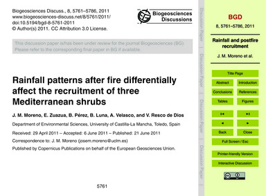Rainfall Patterns After Fire Differentia... by Moreno, J. M.