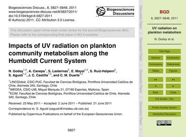 Impacts of Uv Radiation on Plankton Comm... by Godoy, N.