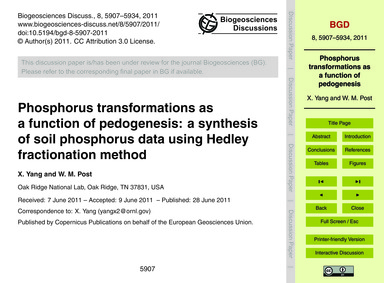 Phosphorus Transformations as a Function... by Yang, X.