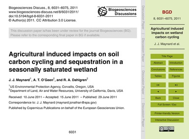 Agricultural Induced Impacts on Soil Car... by Maynard, J. J.