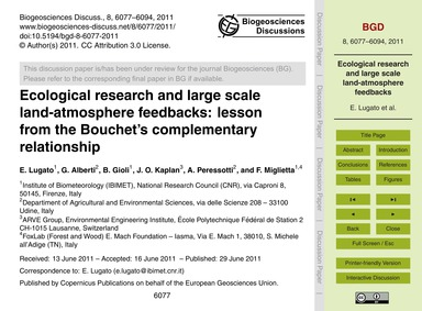 Ecological Research and Large Scale Land... by Lugato, E.