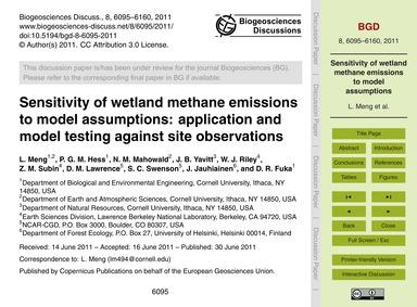 Sensitivity of Wetland Methane Emissions... by Meng, L.