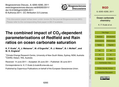 The Combined Impact of Co2-dependent Par... by Kvale, K. F.