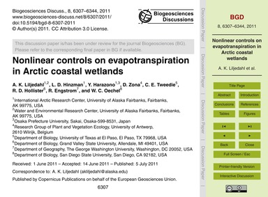 Nonlinear Controls on Evapotranspiration... by Liljedahl, A. K.