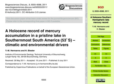 A Holocene Record of Mercury Accumulatio... by Hermanns, Y.-m.