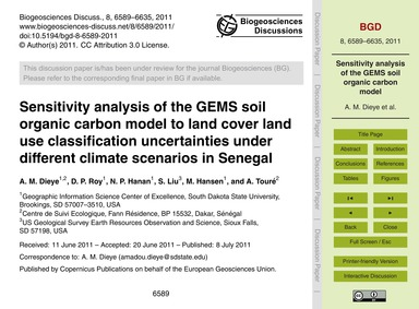 Sensitivity Analysis of the Gems Soil Or... by Dieye, A. M.