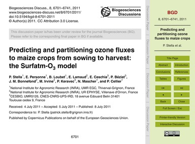Predicting and Partitioning Ozone Fluxes... by Stella, P.
