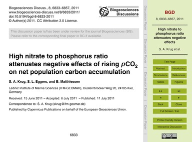 High Nitrate to Phosphorus Ratio Attenua... by Krug, S. A.