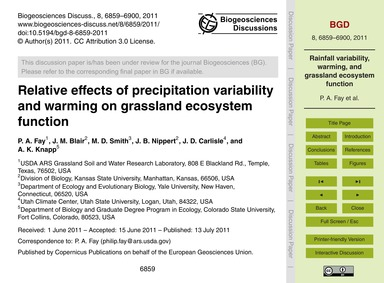 Relative Effects of Precipitation Variab... by Fay, P. A.