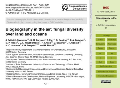 Biogeography in the Air: Fungal Diversit... by Fröhlich-nowoisky, J.
