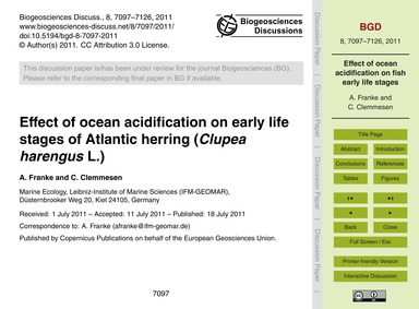 Effect of Ocean Acidification on Early L... by Franke, A.