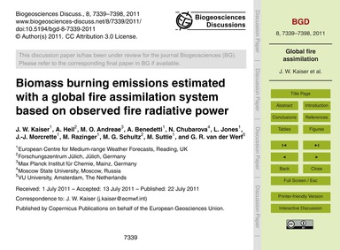 Biomass Burning Emissions Estimated with... by Kaiser, J. W.