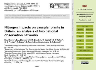 Nitrogen Impacts on Vascular Plants in B... by Henrys, P. A.