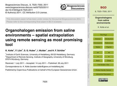 Organohalogen Emission from Saline Envir... by Kotte, K.