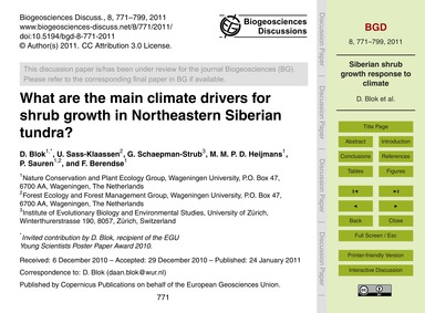 What Are the Main Climate Drivers for Sh... by Blok, D.