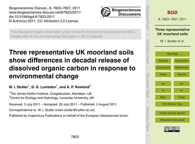 Three Representative Uk Moorland Soils S... by Stutter, M. I.