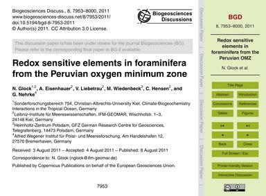 Redox Sensitive Elements in Foraminifera... by Glock, N.