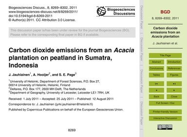 Carbon Dioxide Emissions from an Acacia ... by Jauhiainen, J.