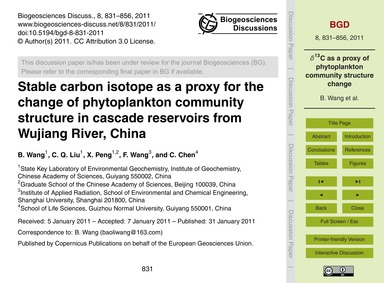 Stable Carbon Isotope as a Proxy for the... by Wang, B.